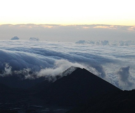 Sunrise over Haleakala looking to Mauna Kea